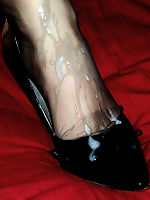 sexy girls dressed in nylon, stockings and pantyhose full of cum